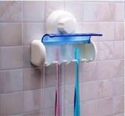 Держатель для 5 зубных щеток на вакуумной присоске в ванную 43184.